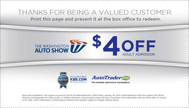 Washington dc auto show discount coupons